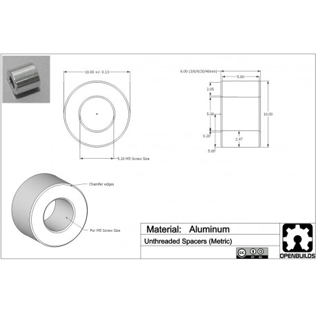Distanční sloupek 8x5x6 mm
