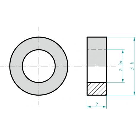 Distanční sloupek plastový 2 mm
